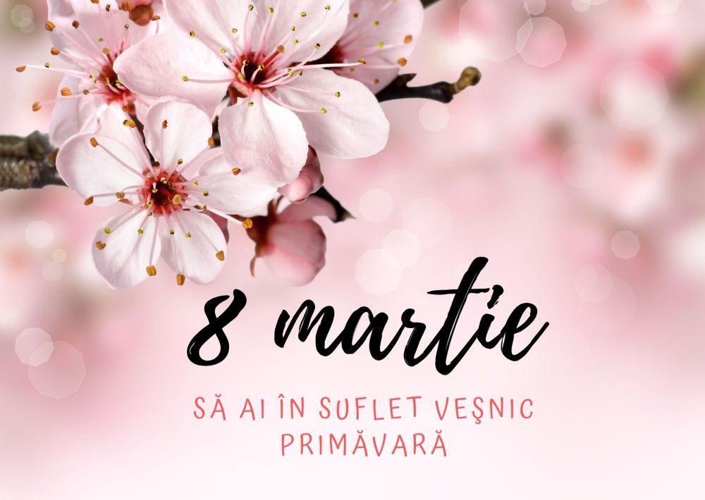 Text cu mesaje de 8 martie alaturi de ramuri de copaci in inflorite
