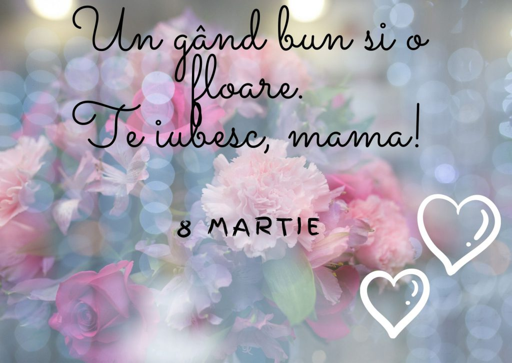 Mesaje scurte de 8 martie pentru mama cu flori pe fundal si doua inimi