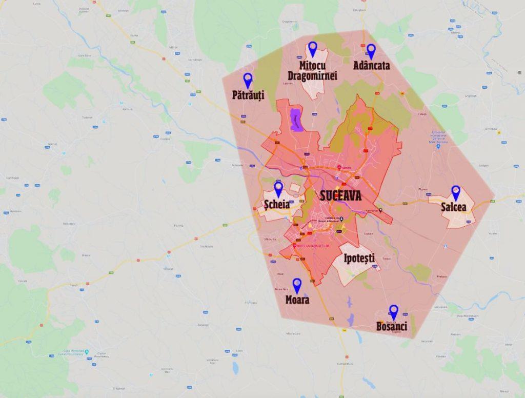 Harta Judet Suceava Localitatile Si Comunele Inchise De
