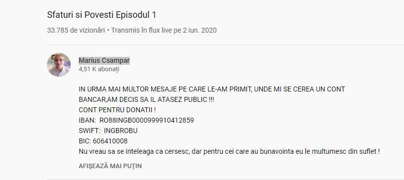 """Marius Csampar, criminalul în serie eliberat acum o lună, cere bani celor ce îl urmăresc pe Youtube: """"Nu vreau să se înțeleagă că cerșesc"""""""