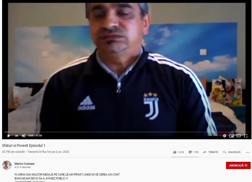 Marius Csampar, criminalul în serie eliberat în mai, se plânge pe YouTube că n-are unde să muncească, iar mai mulți urmăritori se oferă să-i doneze bani