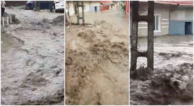 Imagini incredibile. Momentul în care o viitură mătură străzile din Oravița, Caraș-Severin. 38 de case au fost inundate