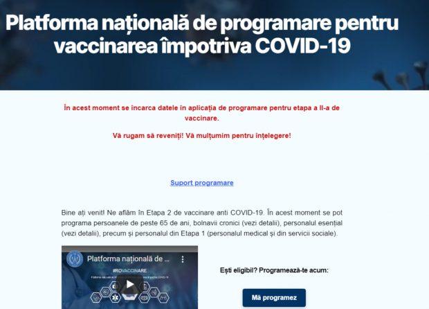 Platforma online pentru prograrmări la vaccinare nu a funcționat aproape două ore