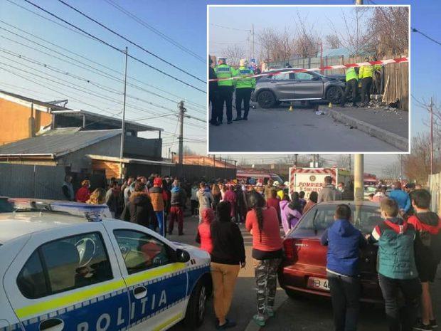 Șoferița cu Mercedes care a omorât o fetiță și o tânără pe trotuar, bătută cu lopata de martori, în București, imediat după accident