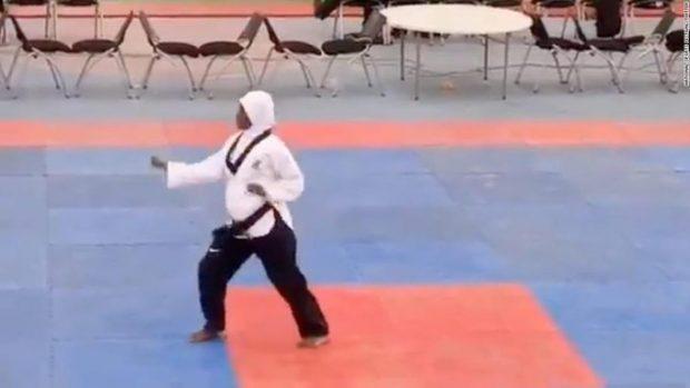 VIDEO | O sportivă din Nigeria gravidă în opt luni a câștigat un concurs de taekwondo