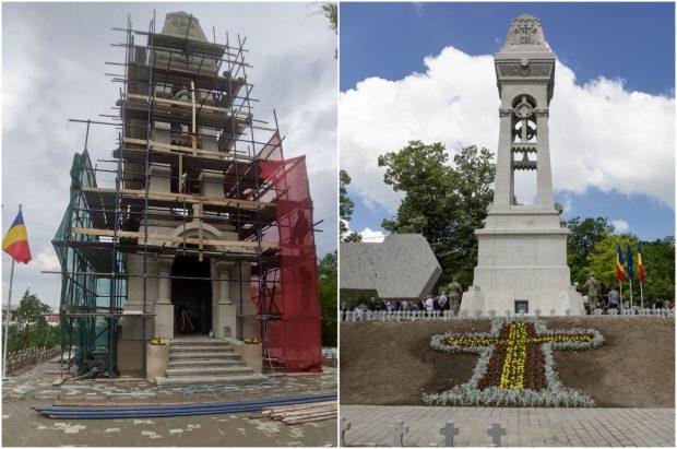 """Schele date jos pentru ca primarul Iașului să poată inaugura renovarea Monumentului Eroilor, apoi puse la loc """"pentru o soluție inovativă"""""""
