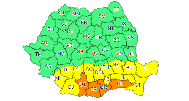 Alertă meteo: aproape toată țara, sub cod portocaliu de vijelii și grindină