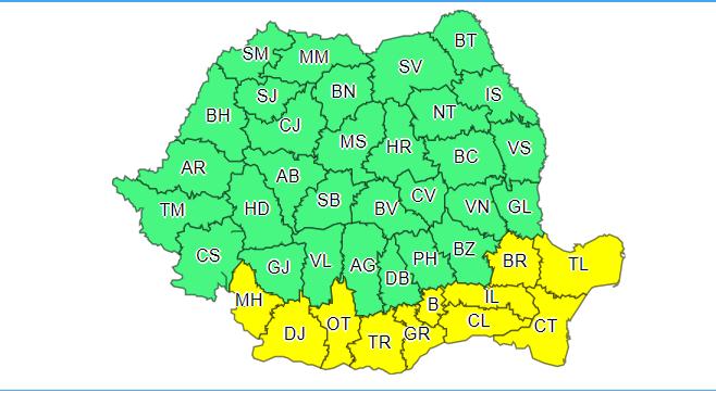 Cod galben de caniculă în București și alte 10 județe din sud. În nord și est sunt anunțate furtuni
