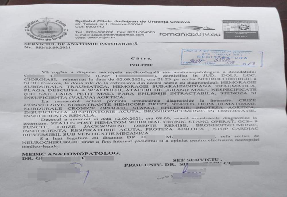 """Bărbat declarat mort din greșeală, la Spitalul Județean din Craiova. Manager: """"S-a produs o încurcătură"""""""